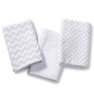 Summer Infant Grey Muslin Small SwaddleMe Blanket (Pack of 3)