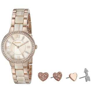 Fossil Women's ES3965SET 'Virginia' Earring Set Crystal Two-Tone Stainless steel and Acetate Watch