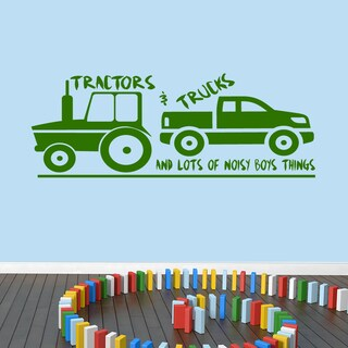 Tractors and Trucks Vinyl Wall Decal - 60 inches wide x 22 inches tall