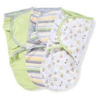 Summer Infant SwaddleMe Multicolored Cotton Kiddopotamus Natural Bee/Stripe/Sage Small/Medium Blankets (Pack of 3)
