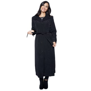 London Fog Women's Black Long Maxi Bib Outerwear