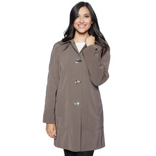 London Fog Women's Dark Truffle Rain Clip Coat