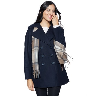 London Fog Women's Double-breasted Pea With Scarf Outerwear