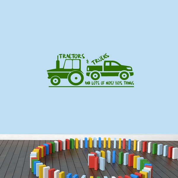 Tractors and Trucks Vinyl Wall Decal - 36 inches wide x 14 inches tall