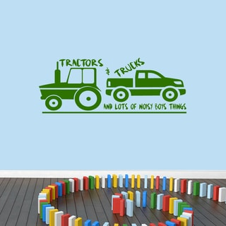 Tractors and Trucks Vinyl Wall Decal - 48 inches wide x 18 inches tall