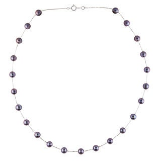 Ion-plated 14k White Gold/Black Freshwater Pearl Necklace - Black