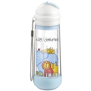 Drinkadeux Glass Blue Plastic Double-wall Insulated Sky/Zoo Bottle
