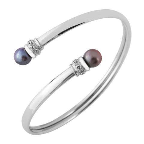 Freshwater Pearl 10k Bangle - Silver