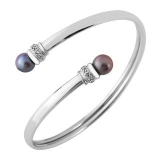 Freshwater Pearl 10k Bangle - Silver