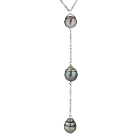 Sterling Silver Grey Tahitian Pearl Lariat Necklace