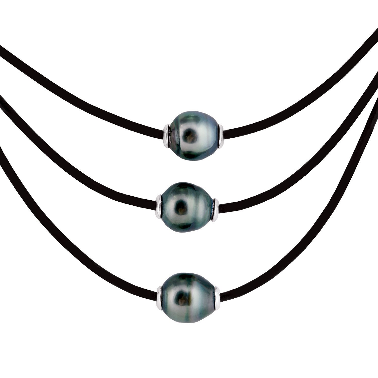 Sterling Silver Tahitian Pearl Leather Necklace (Leather)...