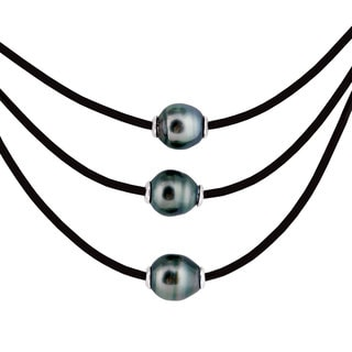 Sterling Silver Tahitian Pearl Leather Necklace