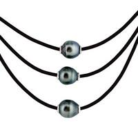 Sterling Silver Tahitian Pearl Leather Necklace - Black