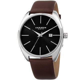 Akribos XXIV Men's Quartz Date Leather Silver-Tone Strap Watch