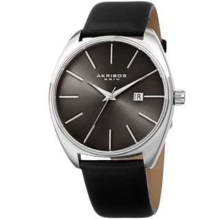 Akribos XXIV Men's Quartz Date Leather Black Strap Watch