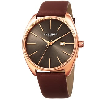 Akribos XXIV Men's Quartz Date Leather Brown Strap Watch