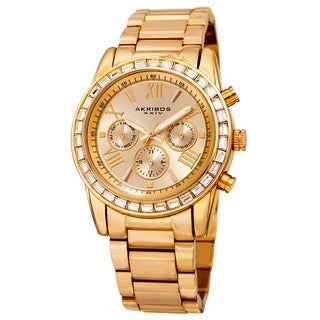 Akribos XXIV Women's Swiss Quartz Multifunction Swarovski Crystal Gold-Tone Bracelet Watch