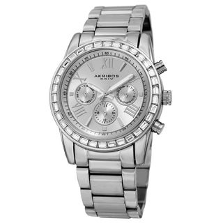 Akribos XXIV Women's Swiss Quartz Multifunction Swarovski Crystal Silver-Tone Bracelet Watch