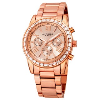 Akribos XXIV Women's Swiss Quartz Multifunction Swarovski Crystal Rose-Tone Bracelet Watch
