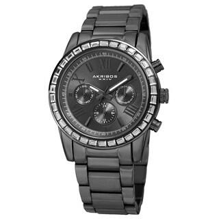Akribos XXIV Women's Swiss Quartz Multifunction Swarovski Crystal Gray Bracelet Watch