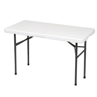 Ares White Metal 48.03-inch x 24.02-inch Folding Utility Table