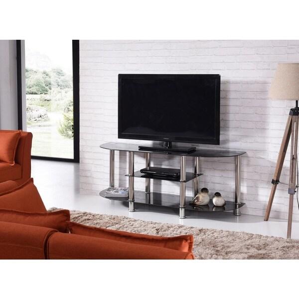 Shop Glass 3 Shelf Tv Stand Free Shipping Today Overstock Com