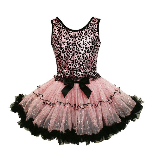b7462d89e5 Popatu Girl's Pink and Black Cotton, Polyester, and Spandex Leopard