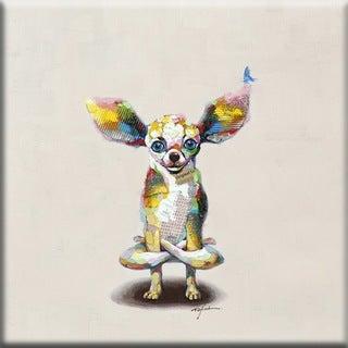 Benjamin Parker 'Levitating Lapdog' 32-inch Hand-painted Wall Art