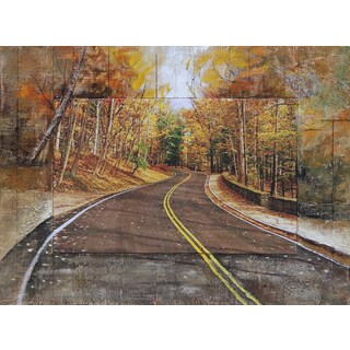 Benjamin Parker 'Autumn Drive' 39-inch Split Media Wall Art