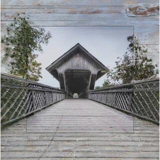 Benjamin Parker 'Covered Bridge' Split Media 36-inch Wall Art