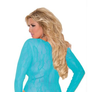 Elegant Moments Plus Size nylon stretch lace deep-V long-sleeve teddy (More options available)