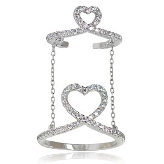Icz Stonez Sterling Silver Cubic Zirconia Chain Link Heart Midi Ring