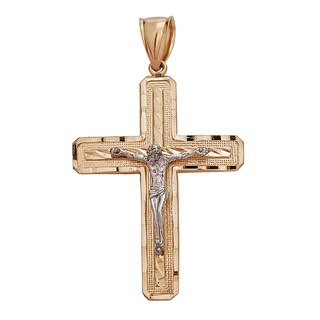 Decadence 14k Two-tone Gold Diamond-cut Cross Pendant