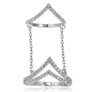 Icz Stonez Sterling Silver Cubic Zirconia Chain Link 'V' Shape Midi Ring