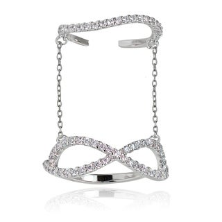 Icz Stonez Sterling Silver Cubic Zirconia Chain Link Infinity Midi Ring