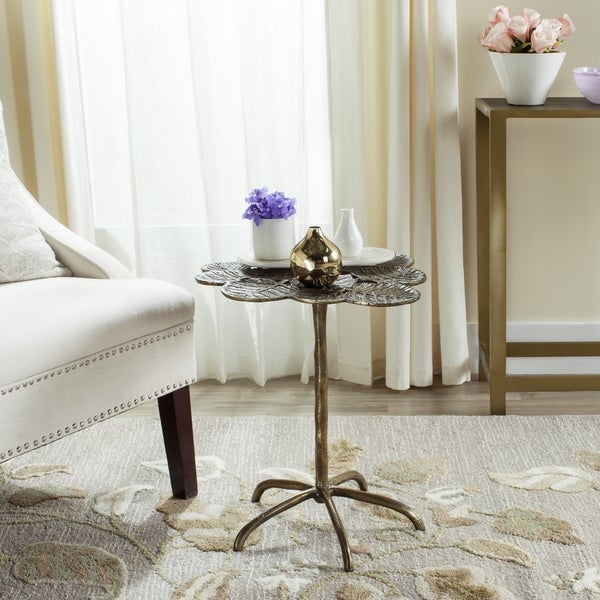 Safavieh Alene Antique Brass Side Table Free Shipping Today - Brushed brass side table