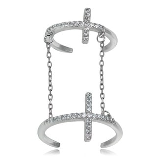 Icz Stonez Sterling Silver Cubic Zirconia Chain Link Cross Midi Ring