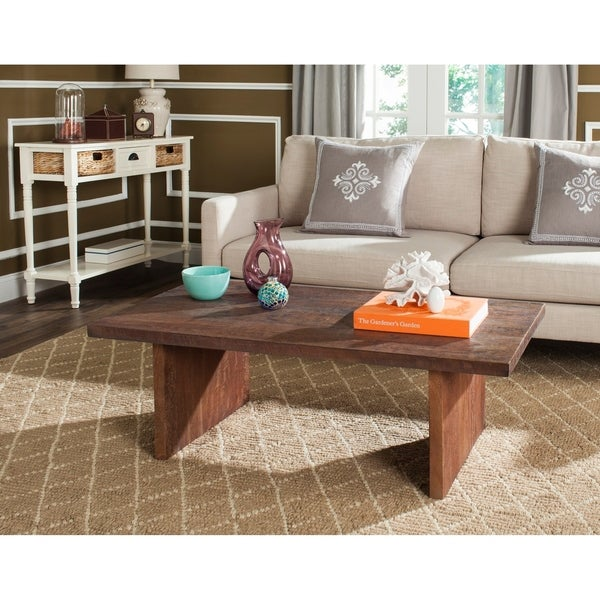 "Safavieh Mid-Century Senjo Brown Rectangular Coffee Table - 47.2"" x 25.6"" x 15.7"". Opens flyout."