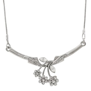 Luxiro Rhodium Finish Pave Crystals Flower Statement Necklace Silver