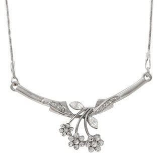 Luxiro Rhodium Finish Pave Crystals Flower Statement Necklace - Silver