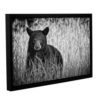 Tom Croce's 'Black Bear Cades Cove B&W' Gallery Wrapped Floater-framed Canvas