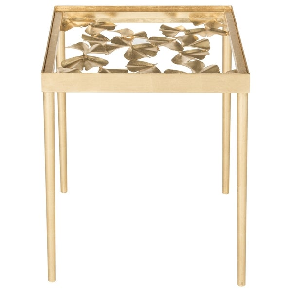 Safavieh Otto Antique Gold Leaf Side Table   Free Shipping Today    Overstock.com   18823625