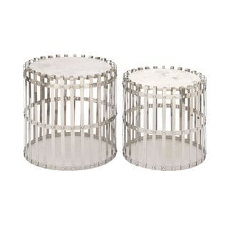 Smart Stainless Steel Marble Accent Tables (Set of 2)