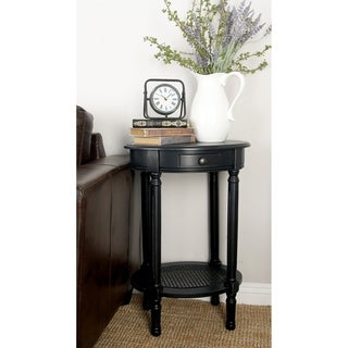 Traditional 28 Inch Round Distressed Black Accent Table by Studio 350