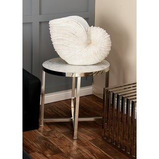 Silver Stainless Steel and Marble Accent Table
