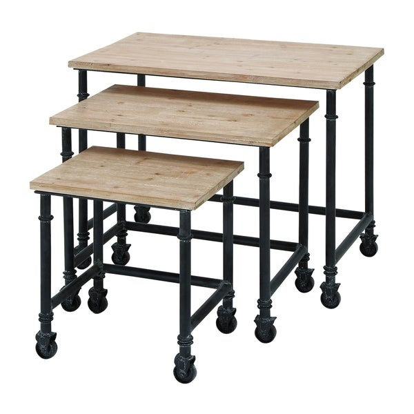 Accent Collection Black/Brown Metal/Wood 30-inch, 23-inch and 16-inch Set of 3 Nesting Tables