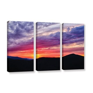 Tom Croce's 'Blue Ridge Sunset' 3 Piece Gallery Wrapped Canvas Set