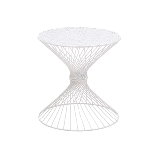 White Metal Round Accent Table