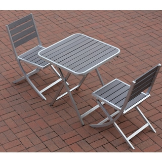 Maxwell Slate Grey Aluminum Outdoor Folding Three-piece Chairs and Table Set