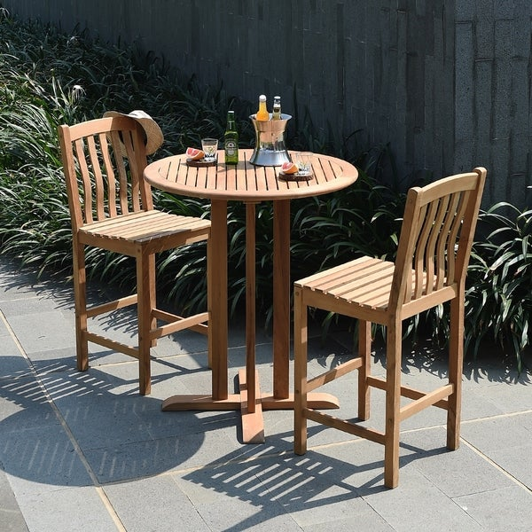 Shop Cambridge Casual Sherwood Piece Teak Bar Height Bistro Set - Teak bar height table and chairs